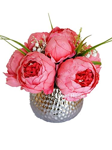 Sweet Home Deco Silk Peony Arrangement in Silver