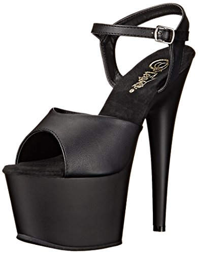 Pleaser ADO709/BPU/M Women's Platform Dress Sandal, Black Faux Leather/Black Matte, 9 M (Womens Matte Black Leather)
