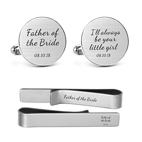 MUEEU Dad Father of The Bride Cufflink Engraved I Will Always Be Your Little Girl Dad Father Tie Bar
