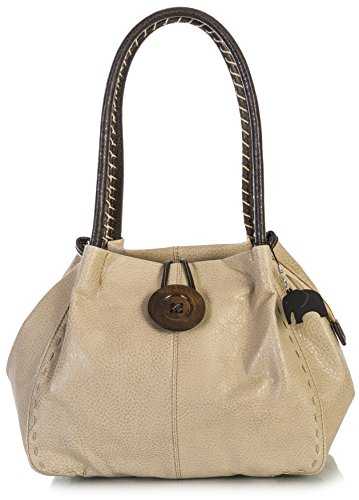 Big Handbag Shop Trendy Sac simili cuir gros bouton Sac à bandoulière BHSL - Light Beige
