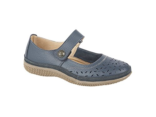 Navy ALEX Boulevard Leather Shoes Navy Jane Mary Wide EEE Extra Ladies Velcro PAArd