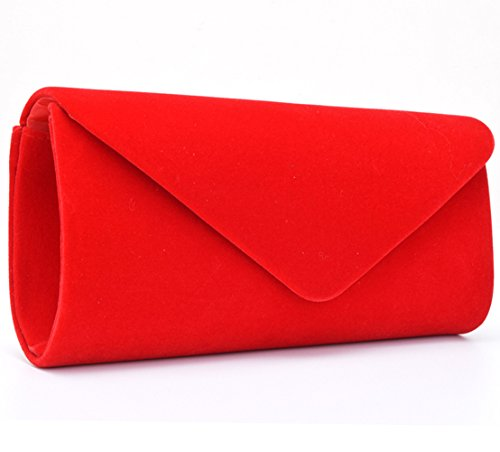 Womens Suede Handbag (U-Story Women's Evening Wedding Party Velvet Envelope Clutch Bag Tote Purse Handbag (Red))