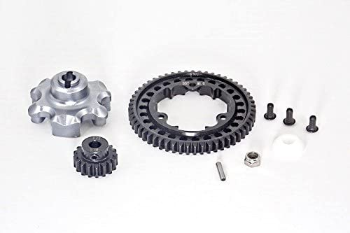 B01I54H0CI Traxxas X-Maxx 4X4 Upgrade Parts Aluminum Gear Adapter + Steel Spur Gear 55T + Motor Gear 17T (for X-Maxx 6S Only) - 1 Set Gray Silver 41RhIp8NXEL