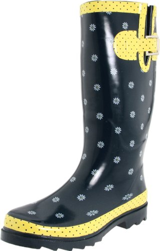 Western Chief Women's Mini Daisies Rain Boot,Navy,8 M US