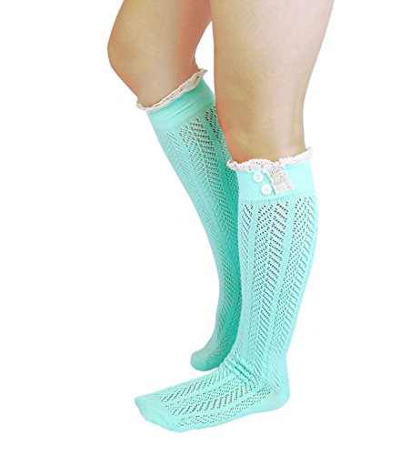 Knit Button Boot Socks with Lace Trim Knee High Socks by CL Couture (Mint) by CL Couture