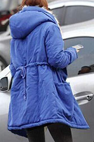 Tasca Outwear Giacca Zip Con Incappucciato Yulinge Blu Piena Spessa Le Donne Lana aqT8f