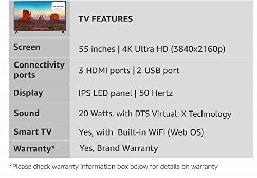 LG 139 cm 55 Inches 4K UHD LED Smart TV 55UK6360PTE Black 2018 model