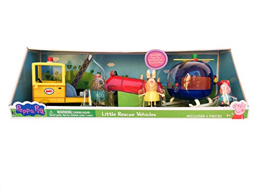 Peppa Pig Rescue Vehicles Play Set with Miss Rabbit Little Helicopter, Grandad Dog Tow Truck, Little Red Car