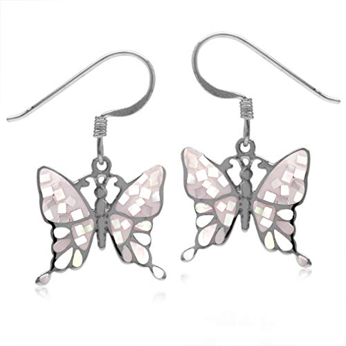 (Silvershake Mosaic Mother of Pearl Inlay White Gold Plated 925 Sterling Silver Butterfly Dangle Hook)