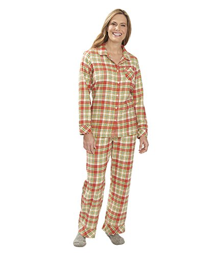Woolrich Women s First Light Flannel Pajama Set Hot Guava Plaid S
