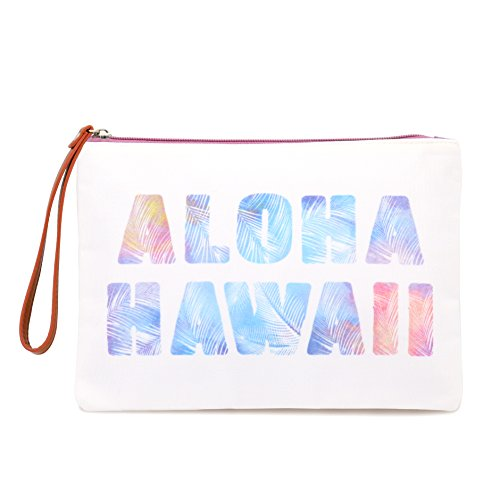 Seven Island Women Leather Canvas Cute Tropical Print Unisex Portable Travel Evening Cosmetic Makeup Zipper Purse Wrist Pouch Clutch Wallet Handbag (Leather Island)