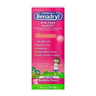 Children's Benadryl Dye-Free Allergy Liquid, Diphenhydramine HCl, Bubble Gum, 4 fl. oz