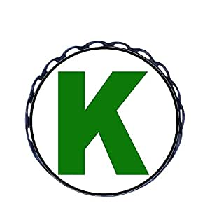 Chicforest Ancient Style Green Letter K Round Pin Brooch