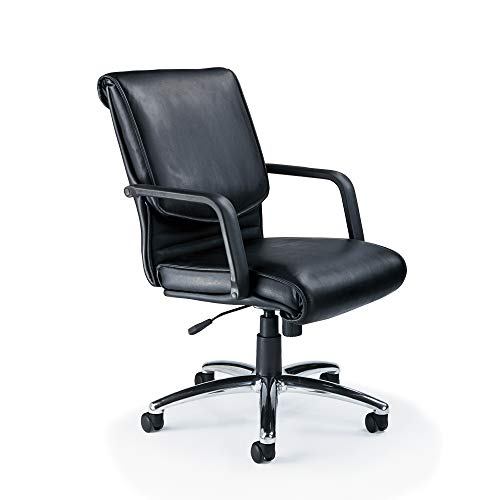 Mayline Wood Mercado - Mayline ALBLK Mercado Chair, Black Leather