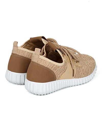 Alrisco Dames Gebreide Stoffen Sneaker - Elastische Band Jogger - Gym Exercise Actieve Walking Casual Schoen - Hc05 By Nature Breeze Beige Mix Media
