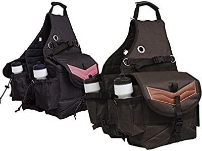 Tahoe Tack Nylon Multi Pocket Horse Saddle Bag with Leather Overlay at Wholesale Price