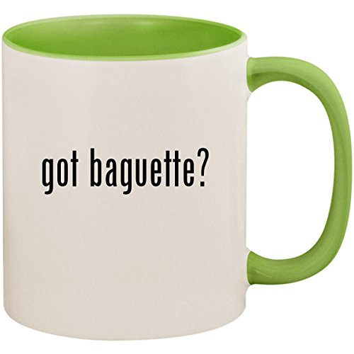 got baguette? - 11oz Ceramic Colored Inside and Handle Coffee Mug Cup, Light Green