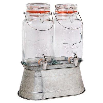 (Home Essentials 1876 Vintage Hammered Jug Beverage Dispenser With Rack, Set Of)
