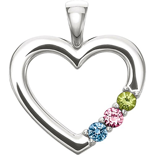 3 Stone Custom Made Heart Family Birthstone Slide Pendant Necklace, 14K White Gold