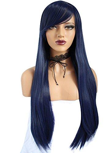 Anogol Vocaloid 32 80cm Long Straight Wigs Lolita dark blue Cosplay Wig