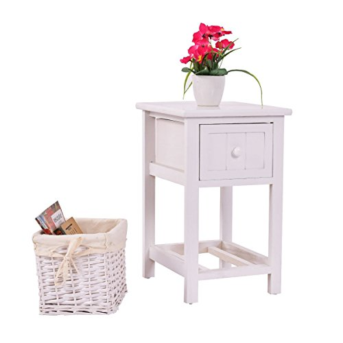 Giantex Mini Night Stand with Drawer and Layer Wood Bedside End Table Organizer Bedroom with Wicker Basket (1)