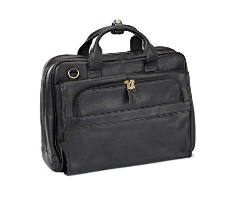 (Clava Leather Top Handle Accordian Brief (Vachetta Black))