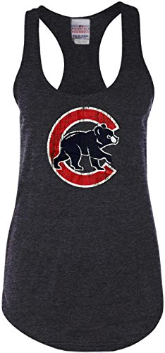 Chicago Cubs Ladies Tank Top Distressed Walking Bear Logo 11852 - 37 Chicago