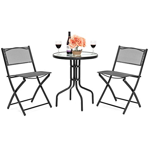 Furniture Patio Gray (Best Choice Products 3-Piece Patio Bistro Dining Furniture Set w/Round Textured Glass Table Top, 2 Foldable Chairs- Gray)