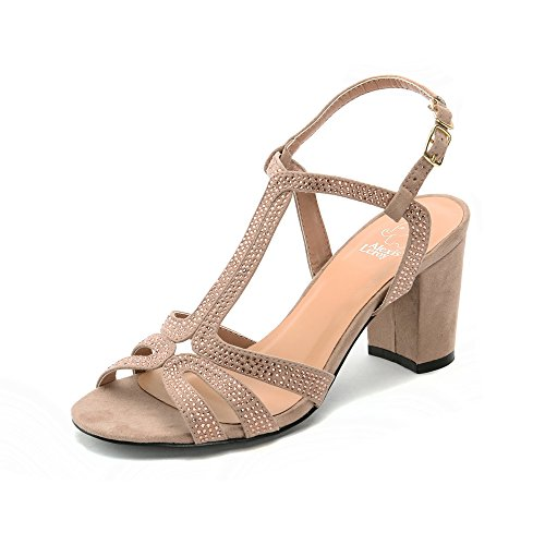 Alexis Leroy Fashion Women Peep Toe Diamante T-Strap Blokc Heel Sandals Khaki