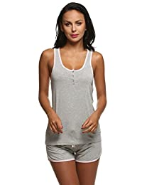 Ekouaer Womens Sleepwear Lightweight Viscose Pajama Sets Tank Top and Shorts (S-XL)