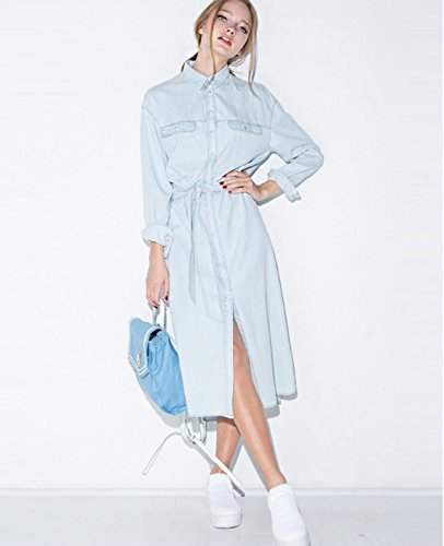 Women Retro Denim Dress Front Belt Casual Vintage Dress Women Blue Solid Midi Shirt Dress Robe Femme Vestido Size:XXL