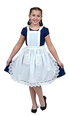 Deluxe Girls Lace Victorian Maid Costume Kids Full White Apron with Pockets (Ages 8-12)