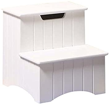 Kings Brand Large White Finish Wood Bedroom Step Stool With Storage