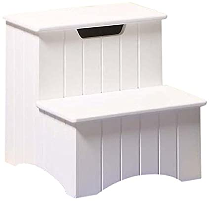 Attrayant Kings Brand Large White Finish Wood Bedroom Step Stool With Storage