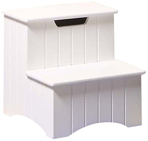Bedroom Step Stools (Kings Brand Large White Finish Wood Bedroom Step Stool With Storage)