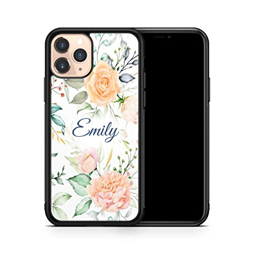 Custom Personalized Name iPhone Case for iPhone 11 Pro Max Case Monogrammed Pink Flowers Phone Cover A254
