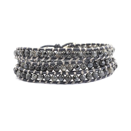 Tom+Alice Natural Gemstones Genuine Leather Wrap Bracelet for Women 3 Wraps Cuff Bracelet (Dark Gray(Gold))