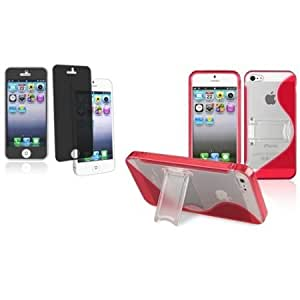 Bloutina CommonByte For iPhone 5 5th G Red S Shape w/Stand TPU Rubber Cover Skin Case+Privacy Filter