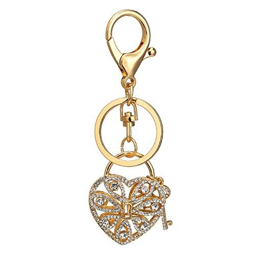 (Andyshi Fashion Cute Lovely Hollow Heart Lock Shaped Design Keychain Key Chain Sparkling Key Ring Charm Purse Pendant Handbag Bag Decoration Holiday Gift For Women Girls)