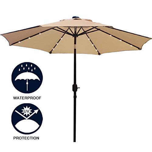 Sunnyglade 9' Solar 24 LED Lighted Patio Umbrella with 8 Ribs/Tilt Adjustment and Crank Lift System (Light Tan)