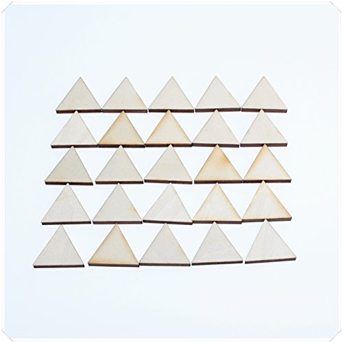 yuhoshop 25 pcs 2CM diameter [Triangle Shaped] Mini Small Wooden Piece Embellishments - Scrapbooking Shapes for Craft Decor Button