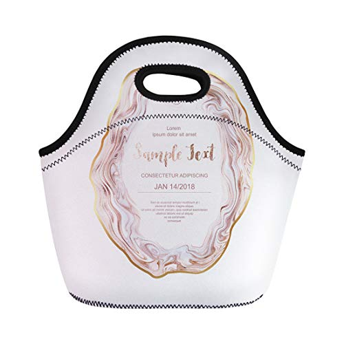Semtomn Lunch Bags Pearl Pink Wedding Agate Slice Gemstone Gold Border Stone Neoprene Lunch Bag Lunchbox Tote Bag Portable Picnic Bag Cooler Bag