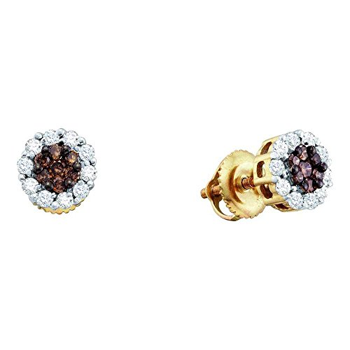 14k Yellow Gold Brown Chocolate and White Round Diamond Stud Earrings – 7mm Height 7mm Width 1 2 cttw