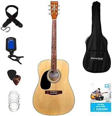 Stretton Payne - Guitarra acústica para zurdos Dreadnought de tamaño completo, con cuerdas de acero, pack D1 ...