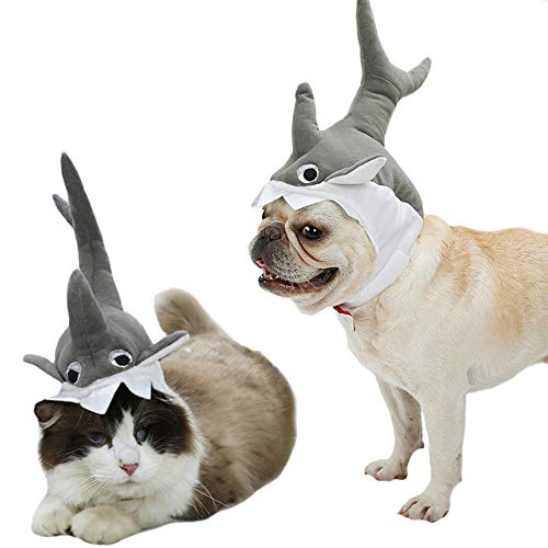 FLAdorepet 3D Halloween Pet Costume for Cat Dog Shark Hat Small to Medium (M, Grey)]()