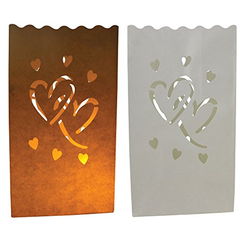 Just Artifacts Paper Luminary Bags for Decorative and Path Lighting (20pc, Love Heart) by JustArtifacts