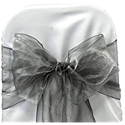 mds Pack of 125 Organza Chair Sashes/Bows sash for Wedding or Events Banquet Decor Chair Bow sash -Silver Gray