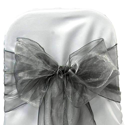 mds Pack of 25 Organza Chair sash Bow Sashes for Wedding and Events Supplies Party Decoration Chair Cover sash -Silver Gray