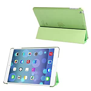 3-folding Leather Cover Frosted Plastic Case with Holder & Sleep / Wake-up Function for iPad Air (Green)
