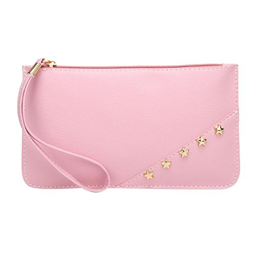 Phone Clutch Coin Stars Domybest Pink Leather PU Wristlets Women Wallets Mini Holder Long fxZgA4q
